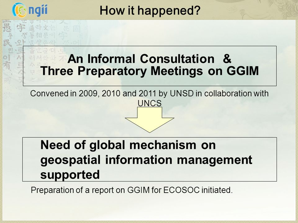 Resolutions (at 18th UNRCC-AP and 41st UN Statistical Commission ) A report should be prepared for ECOSOC on GGIM, including the possible creation of a UN forum on GGIM Decision (by ECOSOC in July 2010) Requests the Secretary-General to submit a report on GGIM to ECOSOC at its 2011 substantive session.