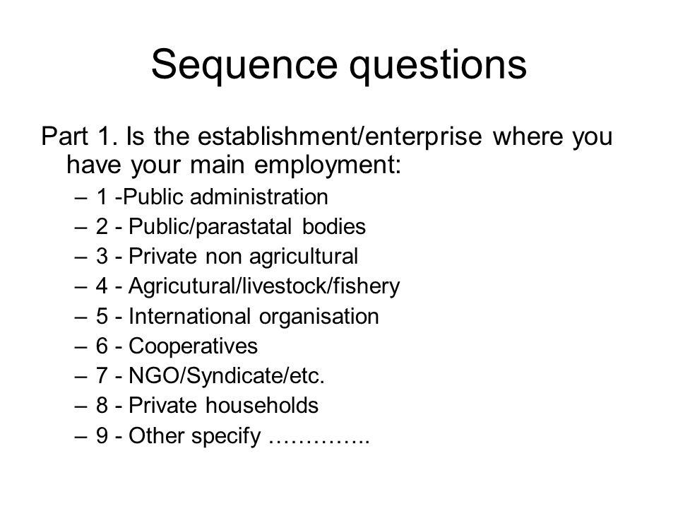 Sequence questions Part 1.