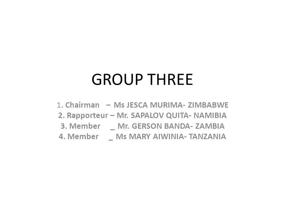 GROUP THREE 1. Chairman – Ms JESCA MURIMA- ZIMBABWE 2. Rapporteur – Mr. SAPALOV QUITA- NAMIBIA 3. Member _Mr. GERSON BANDA- ZAMBIA 4. Member _Ms MARY