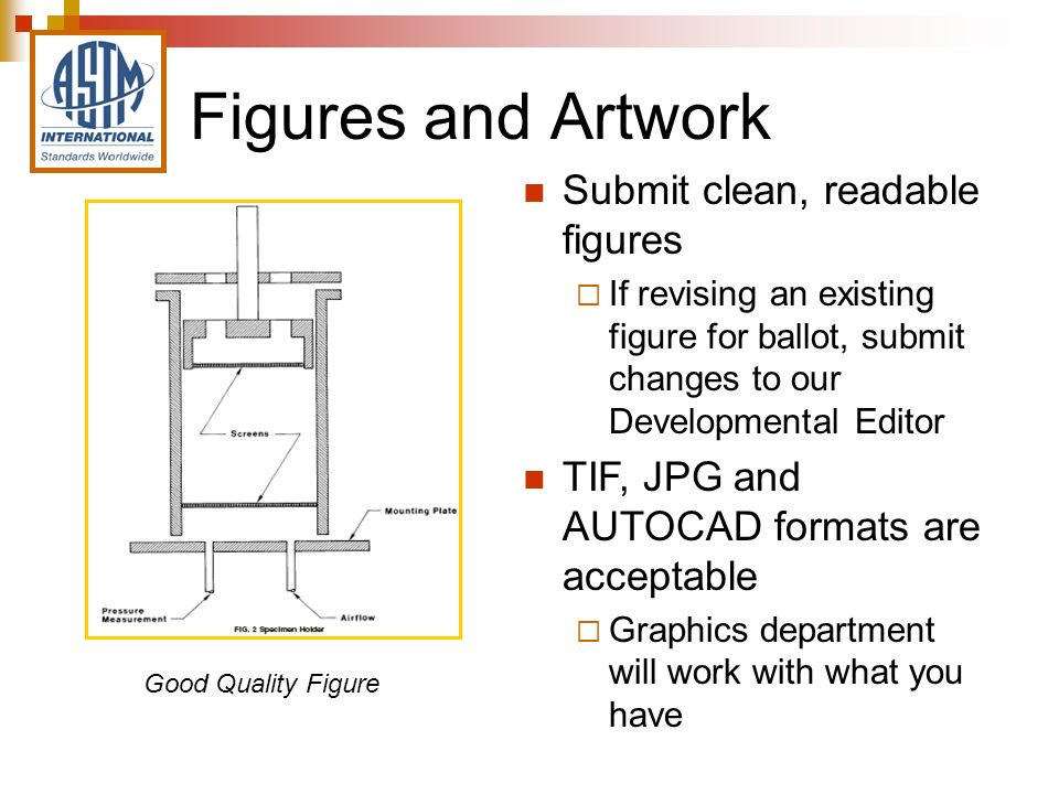 Figures and Artwork Submit clean, readable figures If revising an existing figure for ballot, submit changes to our Developmental Editor TIF, JPG and AUTOCAD formats are acceptable Graphics department will work with what you have Good Quality Figure