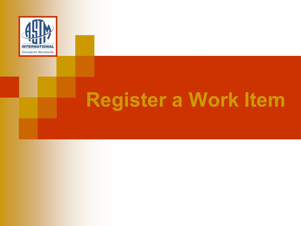 Register a Work Item