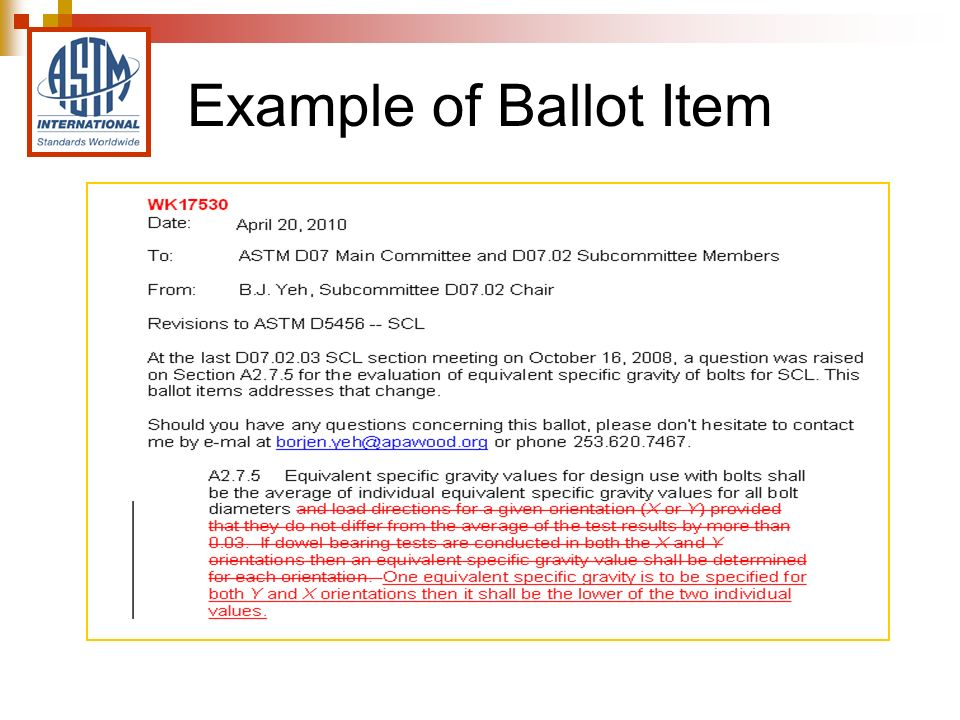Example of Ballot Item
