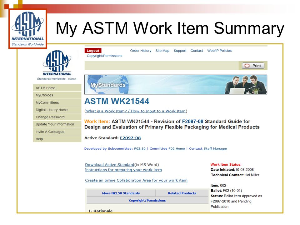 My ASTM Work Item Summary