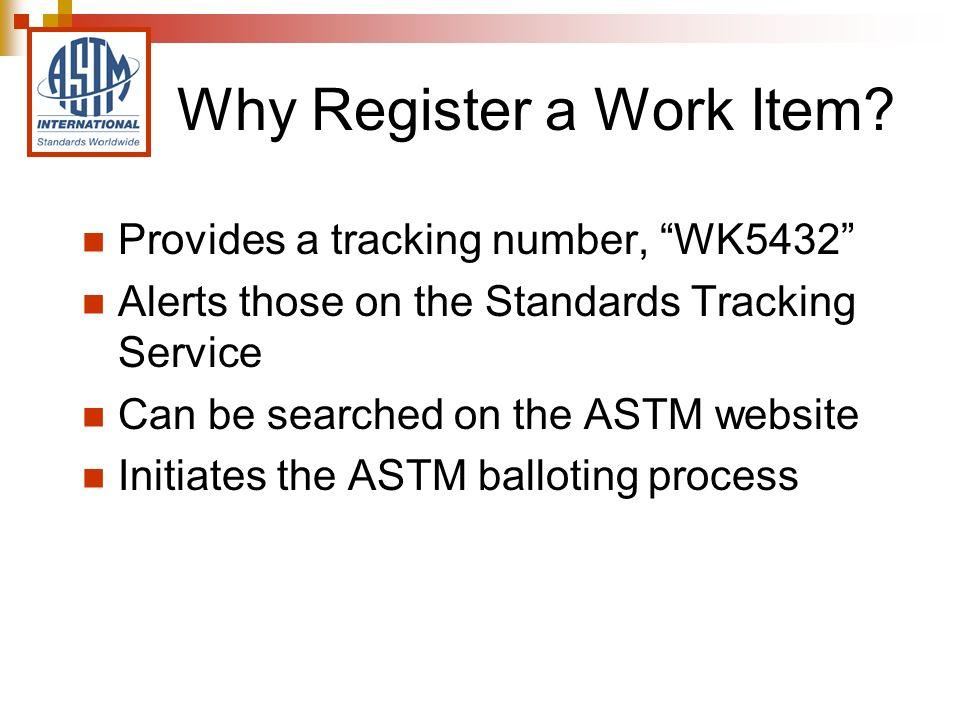 Work Item Registration