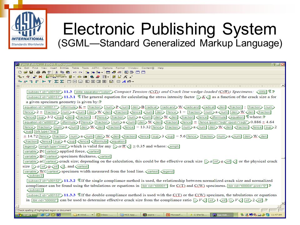 Electronic Publishing System (SGMLStandard Generalized Markup Language)