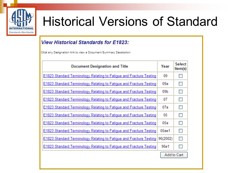 Historical Versions of Standard