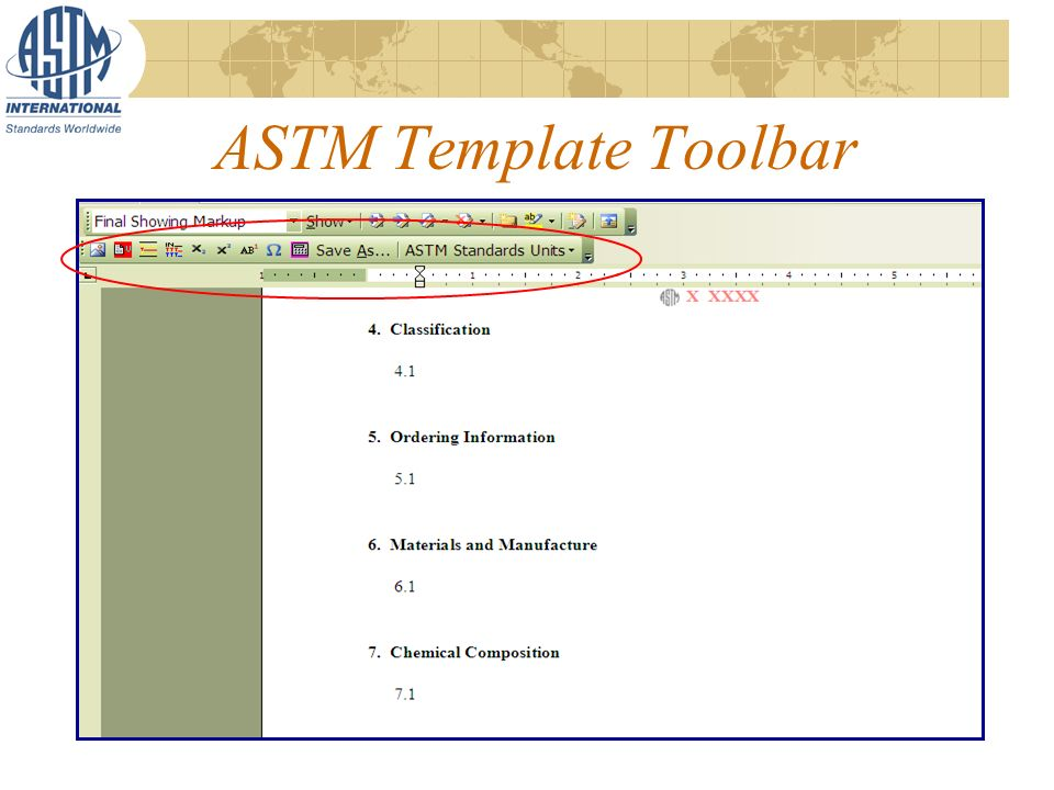 ASTM Template Toolbar