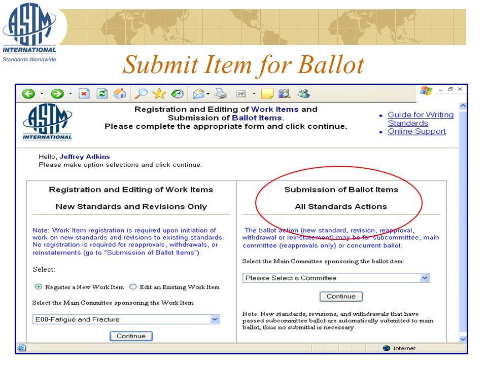 Submit Item for Ballot