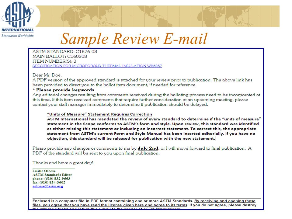 Sample Review E-mail