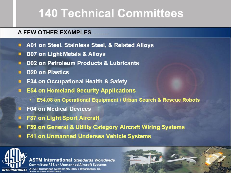 AUVSI Unmanned Systems NA 2007 / Washington, DC © ASTM International. All Rights Reserved. 140 Technical Committees A01 on Steel, Stainless Steel, & R