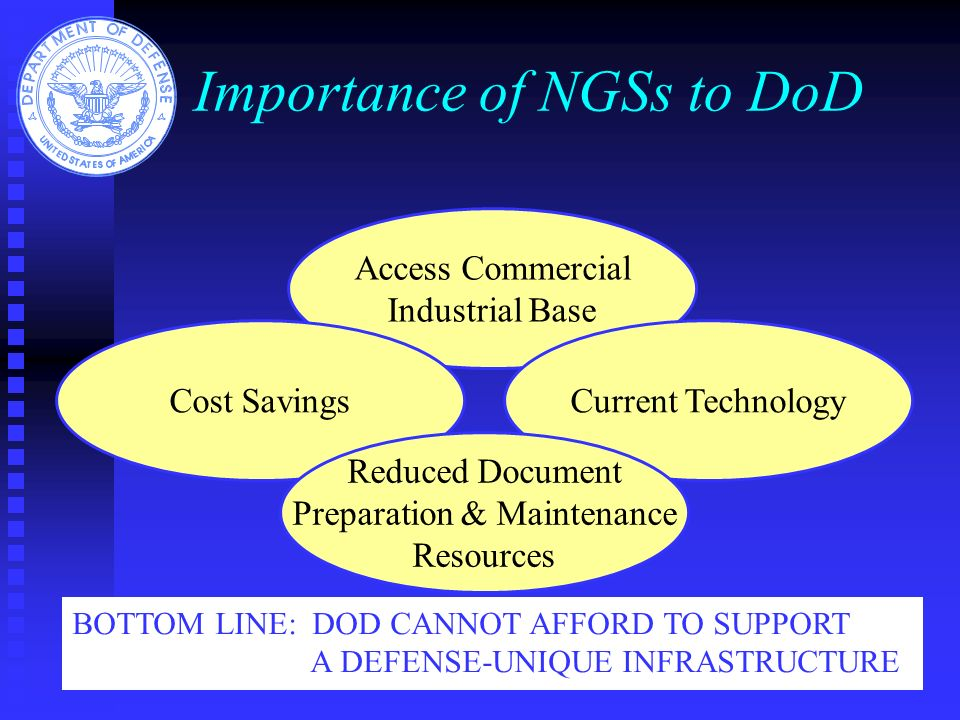 Importance of NGSs to DoD Access Commercial Industrial Base Cost SavingsCurrent Technology Reduced Document Preparation & Maintenance Resources BOTTOM