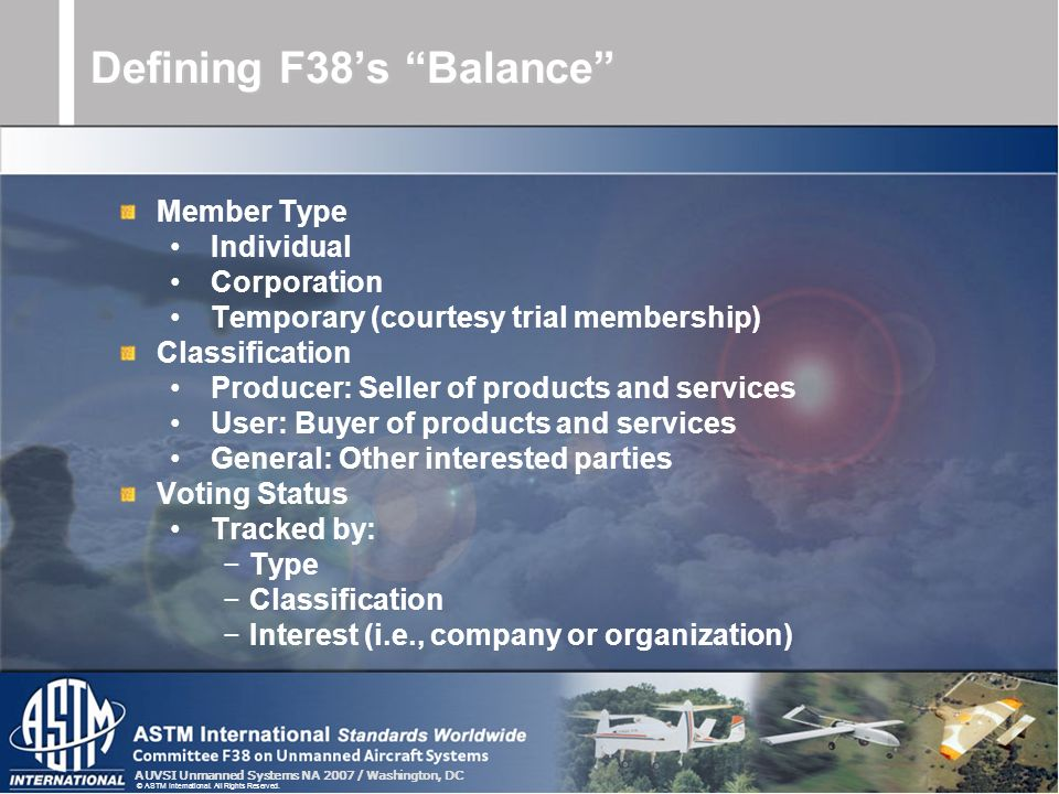 AUVSI Unmanned Systems NA 2007 / Washington, DC © ASTM International. All Rights Reserved. Defining F38s Balance Member Type Individual Corporation Te
