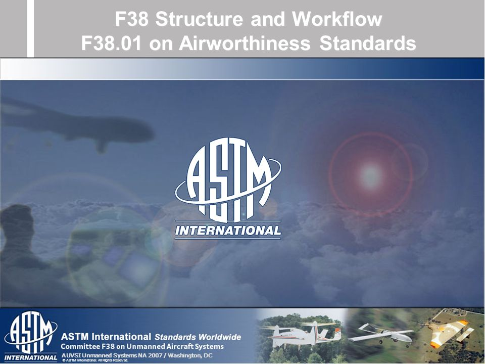 AUVSI Unmanned Systems NA 2007 / Washington, DC © ASTM International. All Rights Reserved. F38 Structure and Workflow F38.01 on Airworthiness Standard