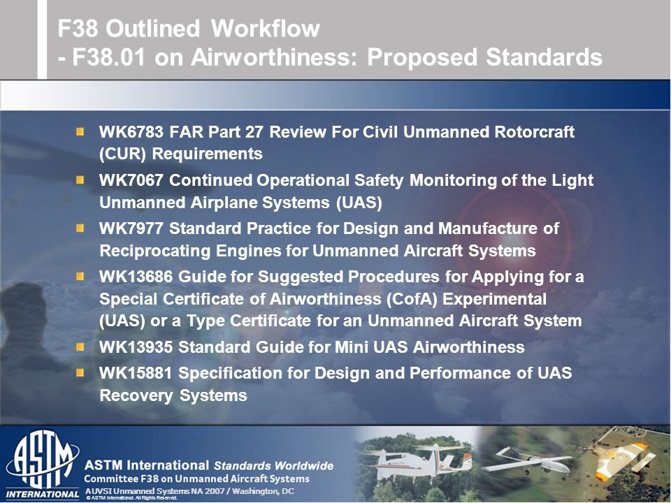 AUVSI Unmanned Systems NA 2007 / Washington, DC © ASTM International. All Rights Reserved. WK6783 FAR Part 27 Review For Civil Unmanned Rotorcraft (CU