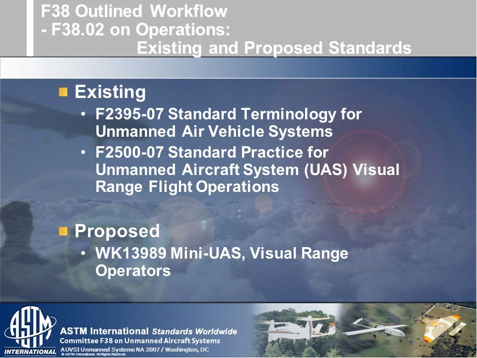 AUVSI Unmanned Systems NA 2007 / Washington, DC © ASTM International. All Rights Reserved. Existing F2395-07 Standard Terminology for Unmanned Air Veh