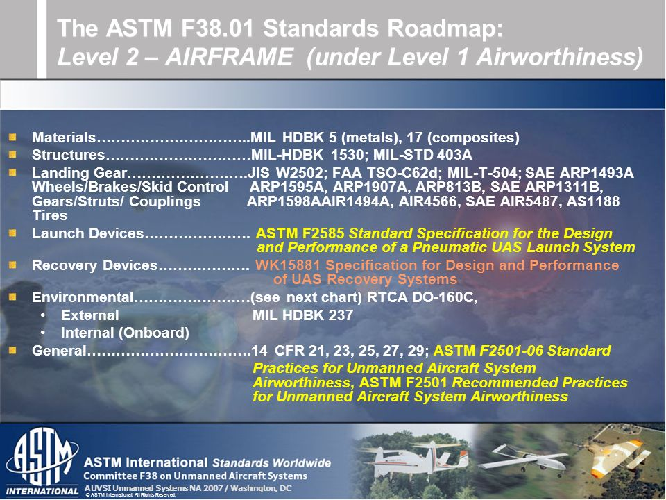 AUVSI Unmanned Systems NA 2007 / Washington, DC © ASTM International. All Rights Reserved. Materials…………………………..MIL HDBK 5 (metals), 17 (composites) S