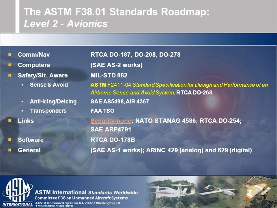 AUVSI Unmanned Systems NA 2007 / Washington, DC © ASTM International. All Rights Reserved. Comm/NavRTCA DO-187, DO-208, DO-278 Computers(SAE AS-2 work