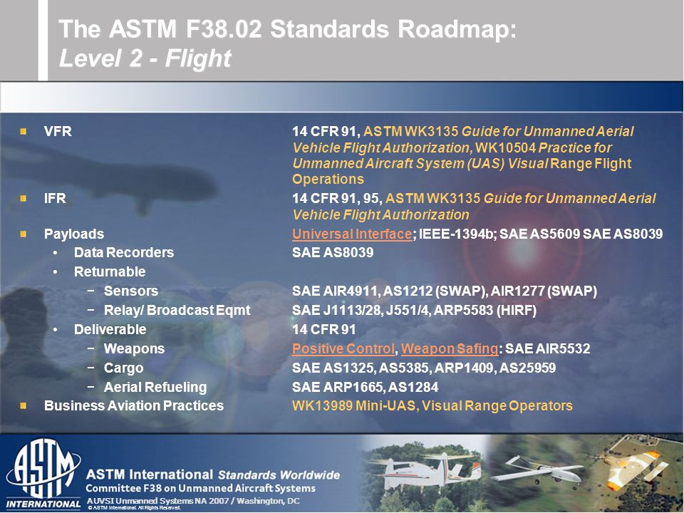 AUVSI Unmanned Systems NA 2007 / Washington, DC © ASTM International. All Rights Reserved. VFR14 CFR 91, ASTM WK3135 Guide for Unmanned Aerial Vehicle