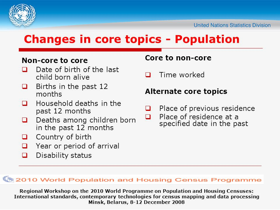 Regional Workshop on the 2010 World Programme on Population and Housing Censuses: International standards, contemporary technologies for census mapping and data processing Minsk, Belarus, 8-12 December 2008 Changes in core topics - Population Non-core to core Date of birth of the last child born alive Births in the past 12 months Household deaths in the past 12 months Deaths among children born in the past 12 months Country of birth Year or period of arrival Disability status Core to non-core Time worked Alternate core topics Place of previous residence Place of residence at a specified date in the past
