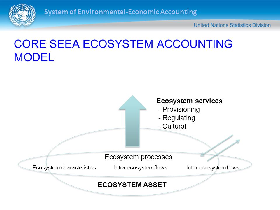 System of Environmental-Economic Accounting CORE SEEA ECOSYSTEM ACCOUNTING MODEL Ecosystem services - Provisioning - Regulating - Cultural ECOSYSTEM A