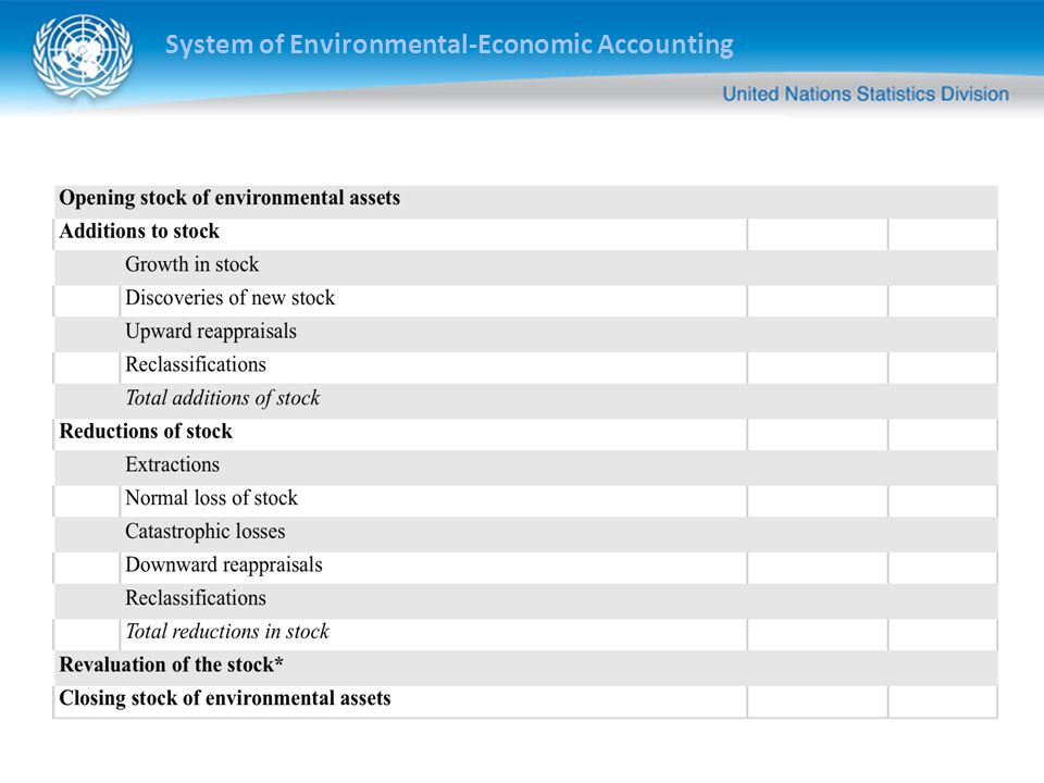 System of Environmental-Economic Accounting ASSET ACCOUNTS