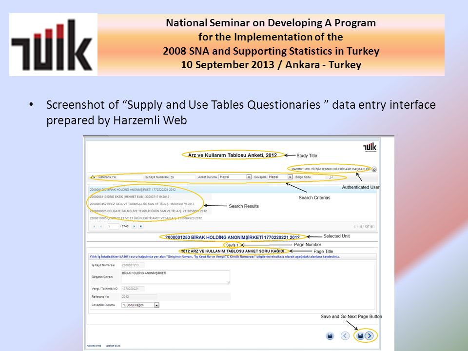 Screenshot of Supply and Use Tables Questionaries data entry interface prepared by Harzemli Web National Seminar on Developing A Program for the Implementation of the 2008 SNA and Supporting Statistics in Turkey 10 September 2013 / Ankara - Turkey