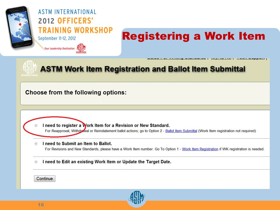 Registering a Work Item 16