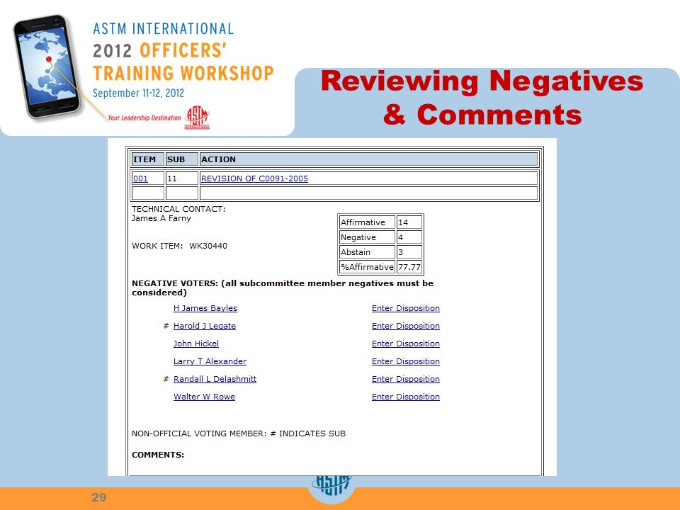 Reviewing Negatives & Comments 29