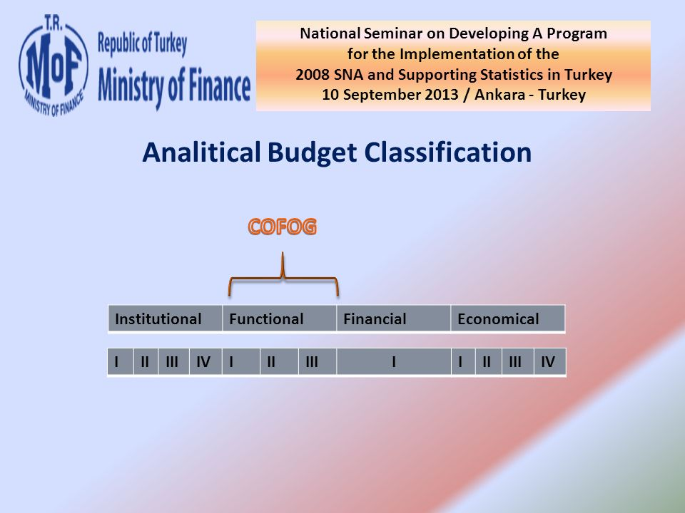 National Seminar on Developing A Program for the Implementation of the 2008 SNA and Supporting Statistics in Turkey 10 September 2013 / Ankara - Turkey Analitical Budget Classification InstitutionalFunctionalFinancialEconomical IIIIIIIVIIIIIIIIIIIIIIV