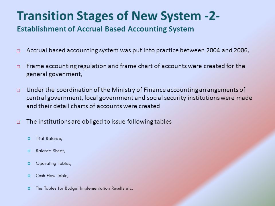 Accrual based accounting system was put into practice between 2004 and 2006, Frame accounting regulation and frame chart of accounts were created for the general govenment, Under the coordination of the Ministry of Finance accounting arrangements of central government, local government and social security institutions were made and their detail charts of accounts were created The institutions are obliged to issue following tables Trial Balance, Balance Sheet, Operating Tables, Cash Flow Table, The Tables for Budget Implementation Results etc.