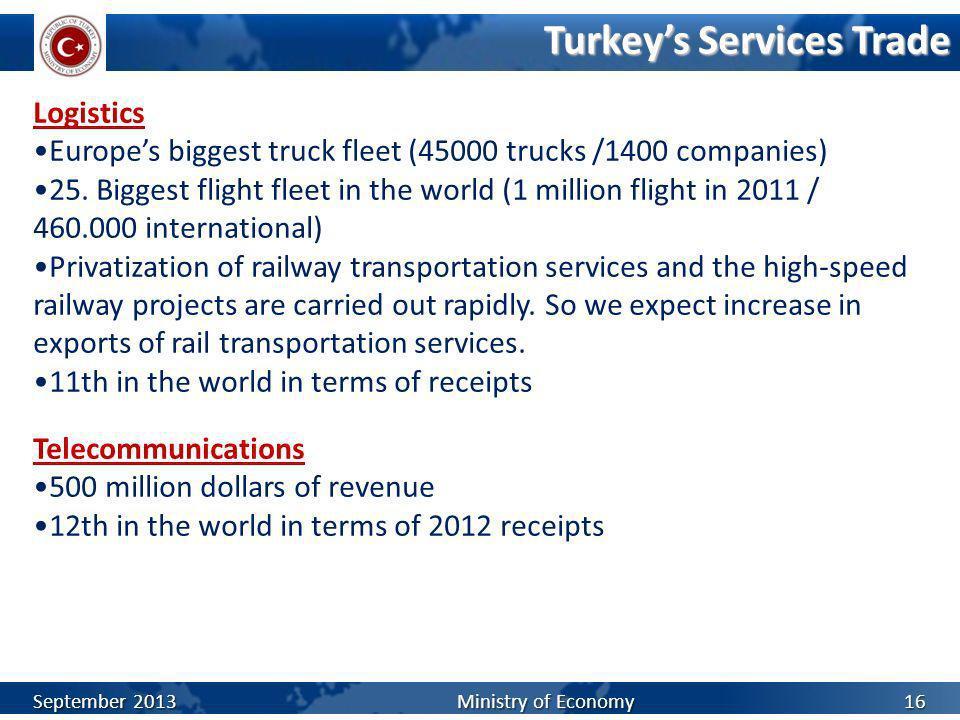 Turkeys Services Trade 16 Logistics Europes biggest truck fleet (45000 trucks /1400 companies) 25. Biggest flight fleet in the world (1 million flight