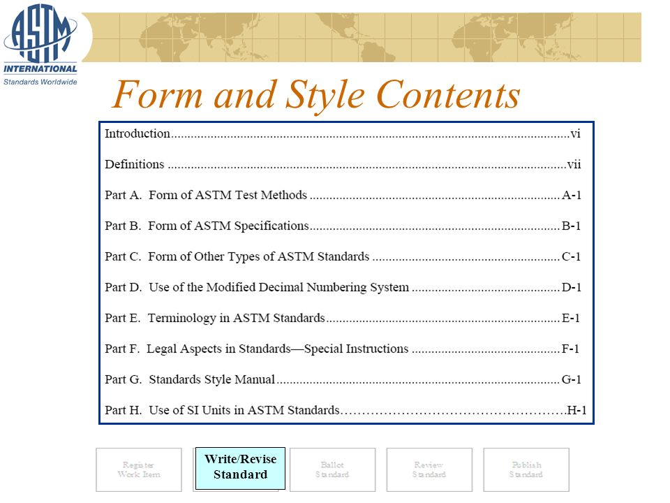 Form and Style Contents Write/Revise Standard