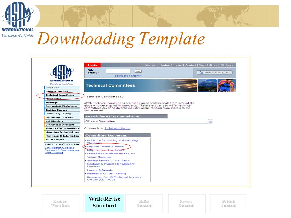 Downloading Template Write Standard Write/Revise Standard
