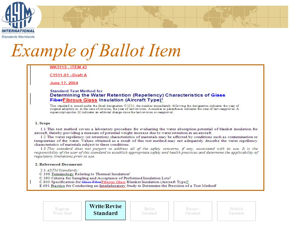 Example of Ballot Item Write/Revise Standard