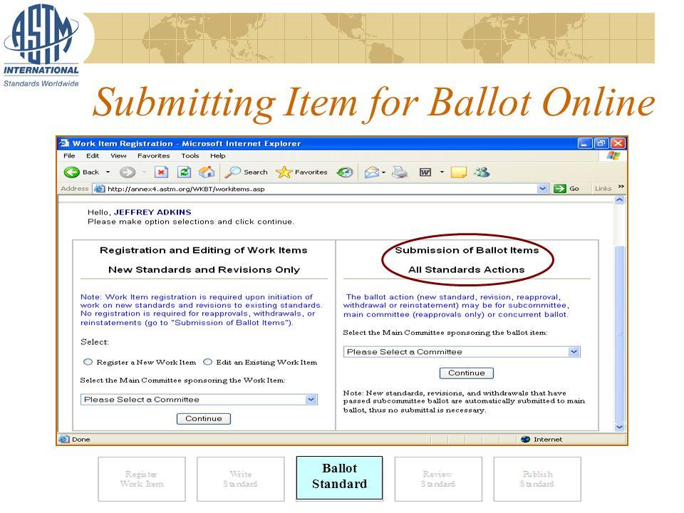Submitting Item for Ballot Online Ballot Standard