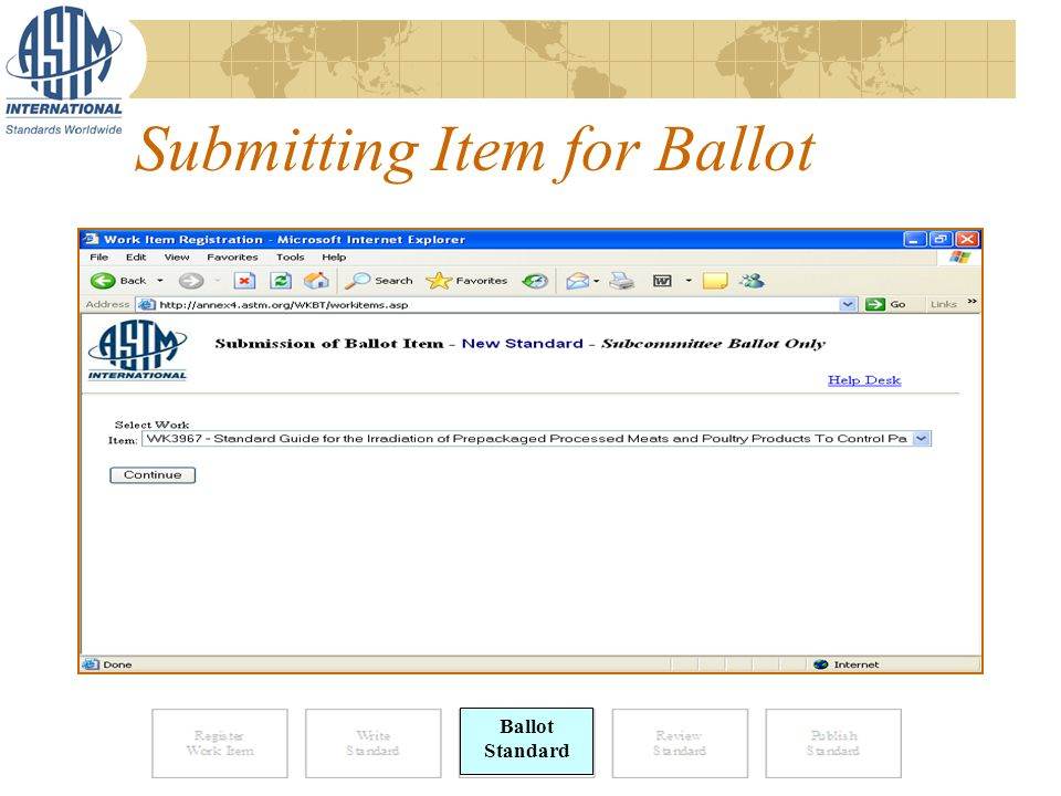 Submitting Item for Ballot Ballot Standard