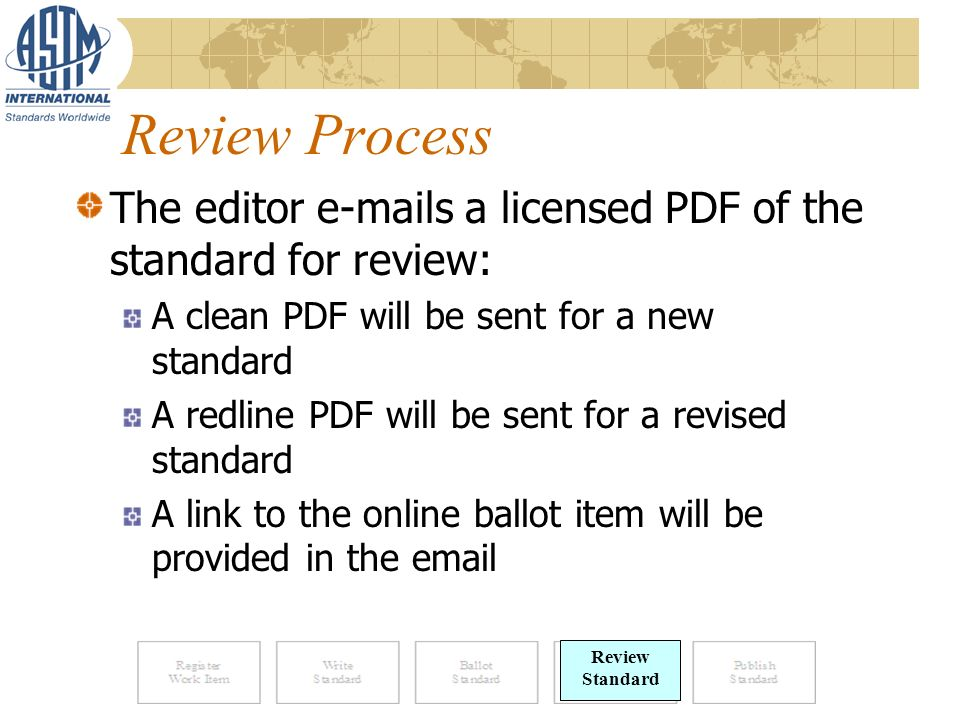 Review Process The editor e-mails a licensed PDF of the standard for review: A clean PDF will be sent for a new standard A redline PDF will be sent for a revised standard A link to the online ballot item will be provided in the email Review Standard