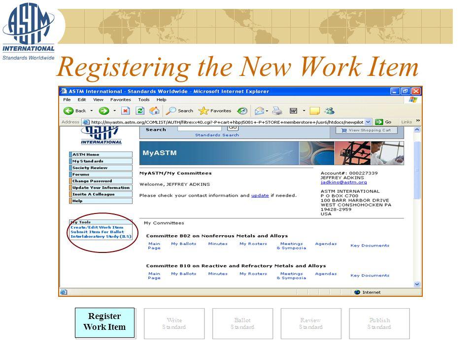 Registering the New Work Item Register Work Item