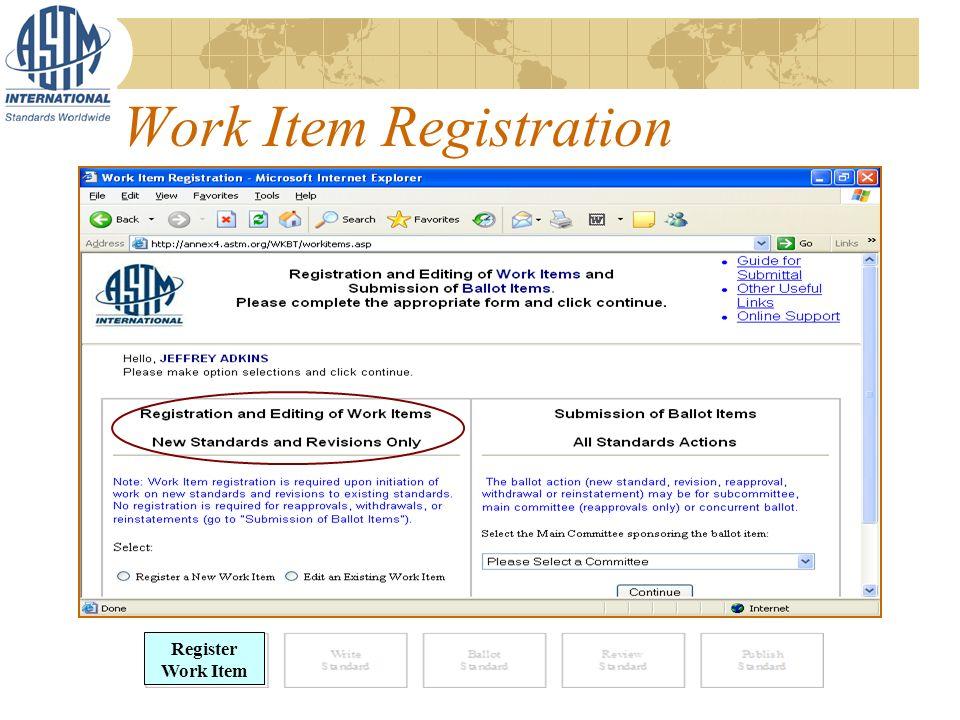 Work Item Registration Register Work Item