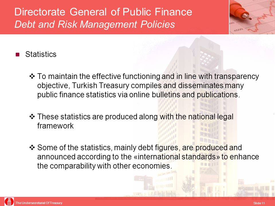 The Undersecretariat Of Treasury Slide 12 Debt statistics compiled for international organizations under SNA93 Central Government Debt for PSD (OECD & Worldbank, PSDS Guide < SNA 2008 & BPM6) Central Government Debt for SDDS (IMF, SDDS Guide < GFSM 2001) Central Government Stock of Debt Securities (BIS, HSS < SNA 2008) Maastricht Debt for EDP Tables (Eurostat, CR479/2009 < ESA95) Government Guaranteed Debt For EDP Questionnaire (Eurostat, CR479/2009 < ESA95) Central Government Debt for GFS Tables (IMF, GFS Manual 2001 < SNA93) Gross external debt of Turkey for SDDS (IMF, EDS Guide < SNA93 & BPM5)