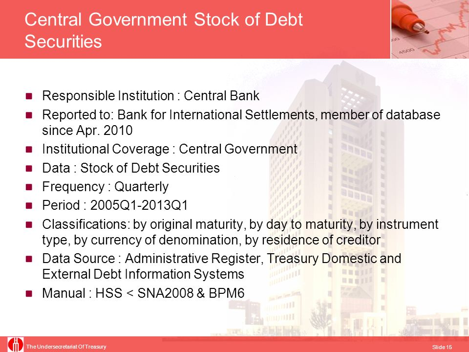 The Undersecretariat Of Treasury Slide 16 Maastricht Debt for EDP Tables Responsible Institution : TURKSTAT Reported to: Eurostat, member of database since 2001 Institutional Coverage : General Government Data : Outstanding Debt Frequency : Yearly Period : 2000 - 2012 Valuation : Face value (as defined in CR479/2009 ) Classifications: by institutional sector, by instrument type Data Source: Administrative Register, Treasury Domestic Debt and External Debt Information Systems (for debt of central government), CBRT Electronic Data Delivery System and Treasury External Debt Information System (for debt of local governments), Turkish State Mint (for Currency and Deposits), Information System of Public Sector Treasurership (for holders of debt securities, for consolidation purpose), Turkish Employment Agency (as holder of debt securities, for consolidation purpose) Manual : Manual on Government Deficit and Debt <ESA 95 & CR479/2009