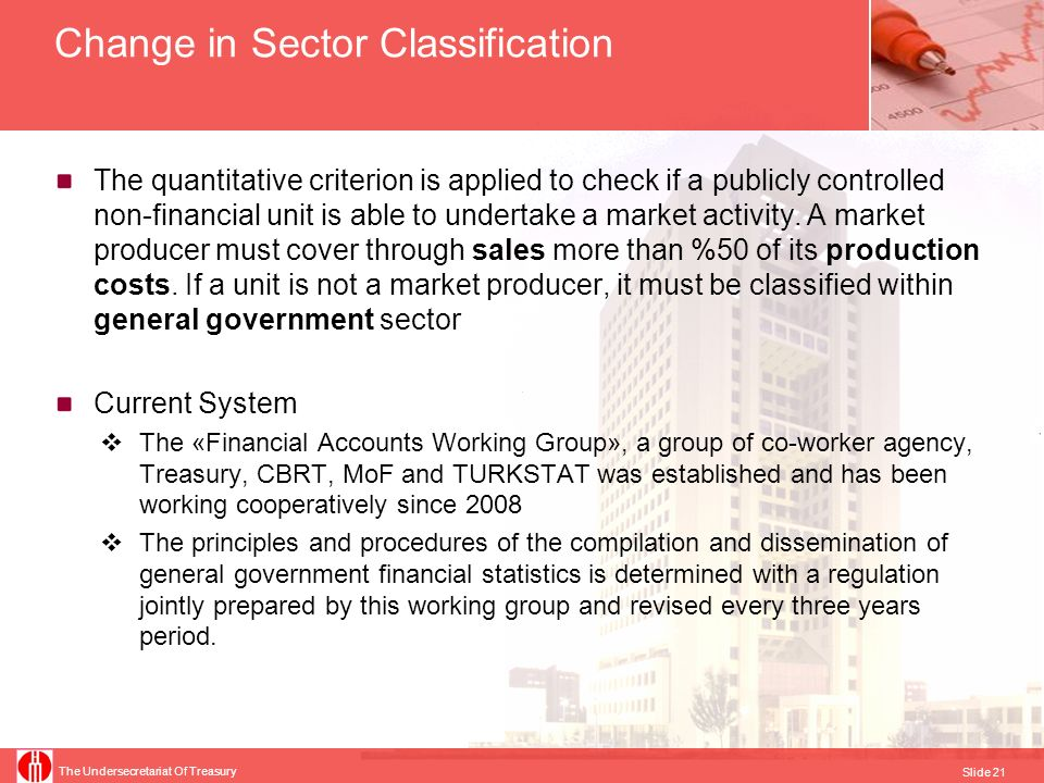 The Undersecretariat Of Treasury Slide 21 Change in Sector Classification The quantitative criterion is applied to check if a publicly controlled non-