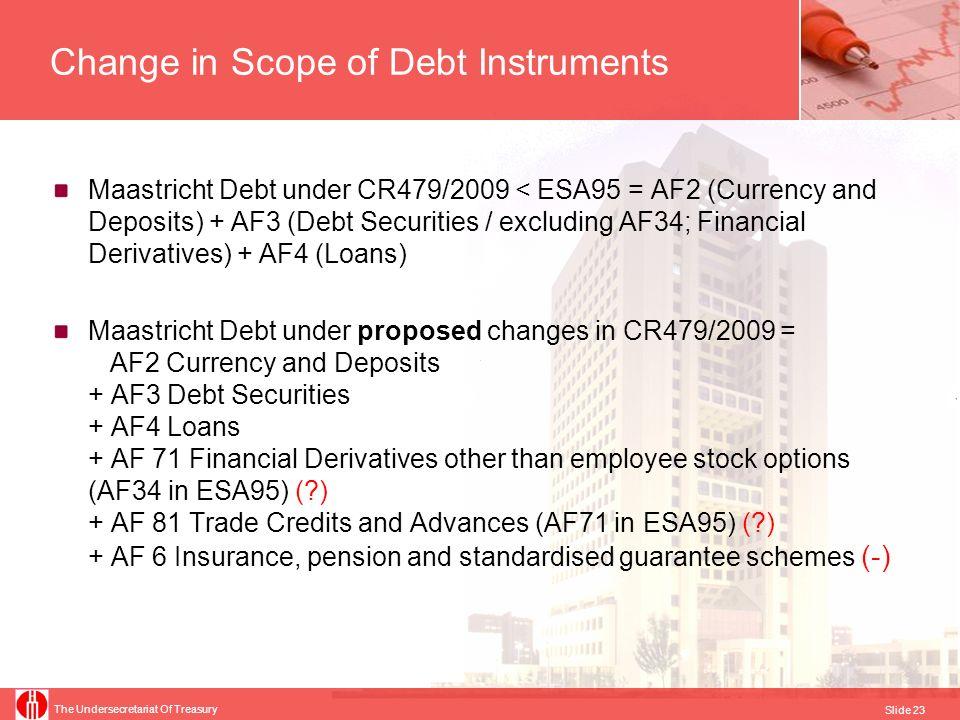 The Undersecretariat Of Treasury Slide 23 Change in Scope of Debt Instruments Maastricht Debt under CR479/2009 < ESA95 = AF2 (Currency and Deposits) +