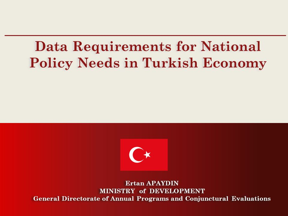 Main Administrative Bodies in the Economy, Main Policy Documents, Statistics used in Policy Documents by theme, Data Requirements for National Policy Needs in Turkish Economy.