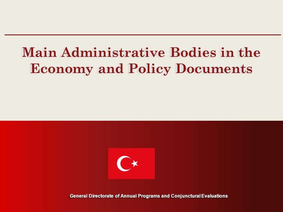 General Directorate of Annual Programs and Conjunctural Evaluations Main Administrative Bodies in the Economy and Policy Documents General Directorate of Annual Programs and Conjunctural Evaluations