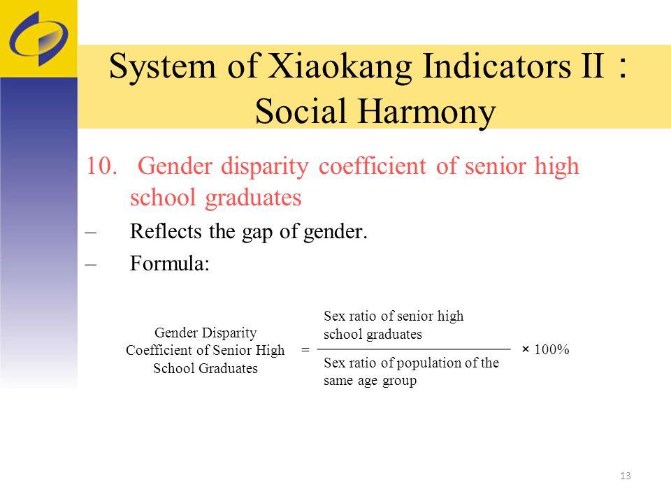 System of Xiaokang Indicators II Social Harmony 10.