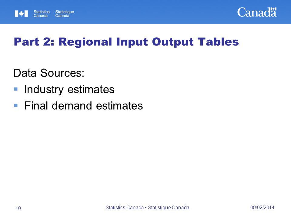 09/02/2014 Statistics Canada Statistique Canada 10 Part 2: Regional Input Output Tables Data Sources: Industry estimates Final demand estimates