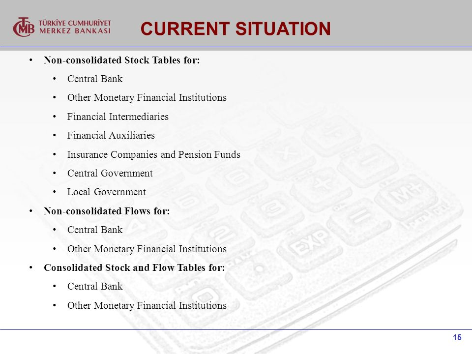 15 CURRENT SITUATION Non-consolidated Stock Tables for: Central Bank Other Monetary Financial Institutions Financial Intermediaries Financial Auxiliaries Insurance Companies and Pension Funds Central Government Local Government Non-consolidated Flows for: Central Bank Other Monetary Financial Institutions Consolidated Stock and Flow Tables for: Central Bank Other Monetary Financial Institutions