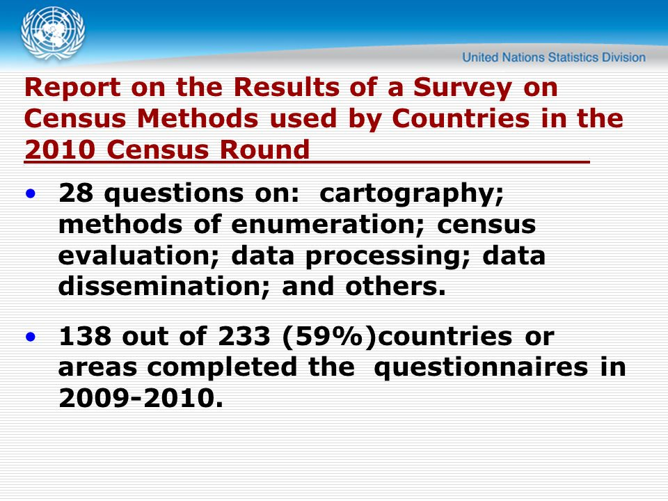 Report on the Results of a Survey on Census Methods used by Countries in the 2010 Census Round..