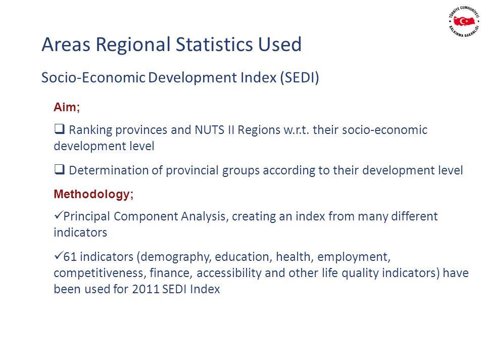 Socio-Economic Development Index (SEDI) Areas Regional Statistics Used Aim; Ranking provinces and NUTS II Regions w.r.t.